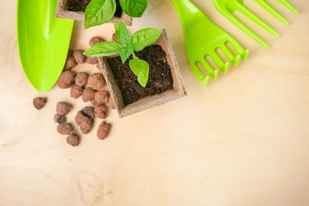 Herramientas de jardinería y vista superior, mantenimiento de jardines