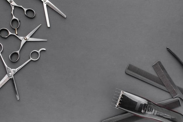Herramientas profesionales para el cabello con espacio de copia
