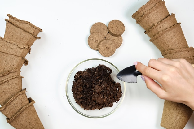 Herramientas, semillas, macetas de turba y suelo prensado para plántulas. copyspace para texto, vista superior. cultivo de alimentos en el alféizar de la ventana. flatlay en espacio de madera blanca
