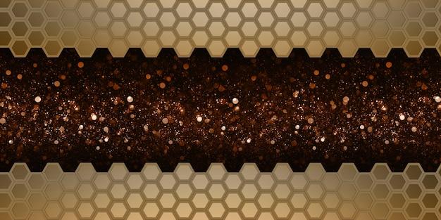 Hexágono abstracto dorado pared de nido de abeja dorado elegante bokeh