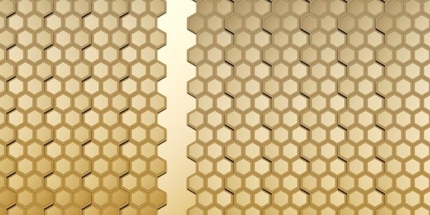 Hexágono abstracto dorado pared de nido de abeja dorado elegante ilustración 3d de bokeh