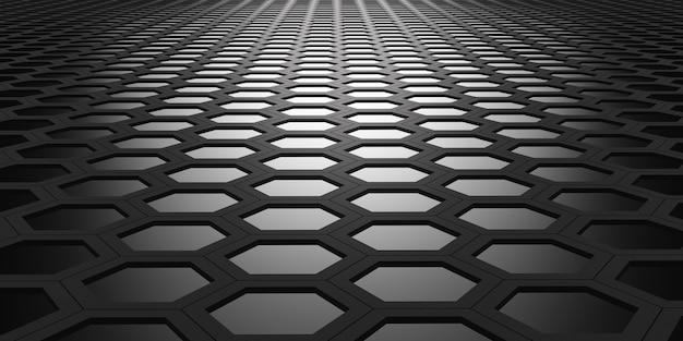 Hexágono brillante marco hexagonal y efecto bokeh geométrico abstracto material de acero hexagonal