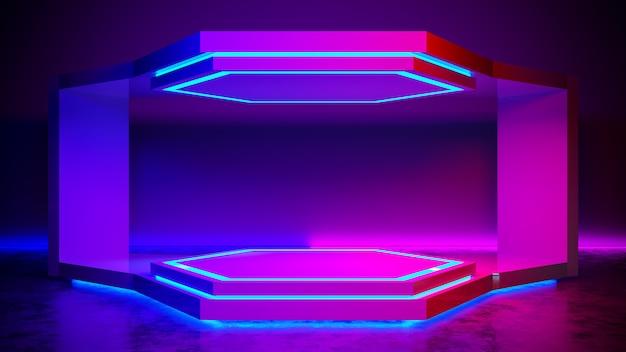 Hexágono etapa abstracta futurista, concepto ultravioleta, render 3d