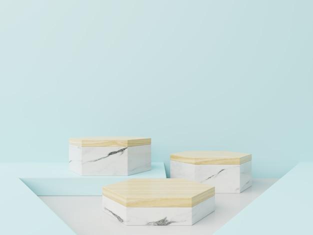 Hexágono de podio en azul abstracto, blanco, composición de mármol, render 3d