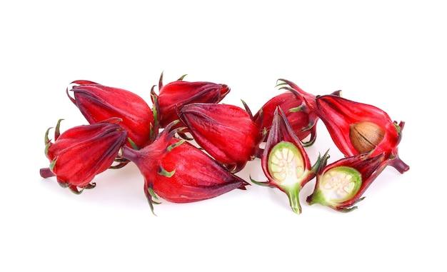 Hibiscus sabdariffa o roselle frutos aislados sobre fondo blanco.