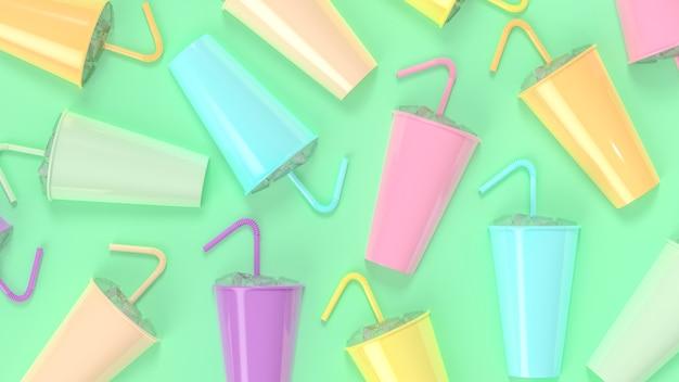Hielo y tubo en vaso de papel en color pastel