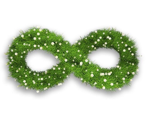 Hierba 3d y margaritas en forma de símbolo infinito