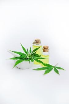 Hierba de cannabis y hojas para caldo de tratamiento, tintura, extracto, aceite.