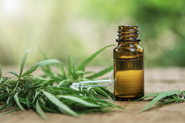 Hierba de cannabis y hojas con extractos de aceite en tarros. concepto medico