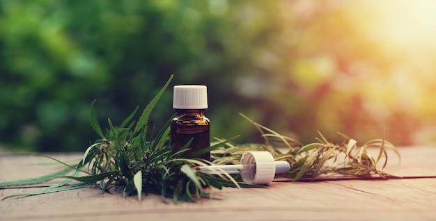 Hierba de cannabis y hojas con extractos de aceite en tarros.