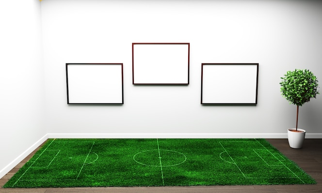 Hierba en la sala de estar blanca. representación 3d
