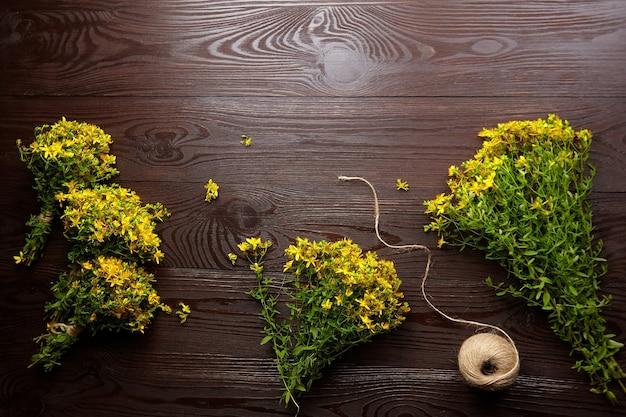 Hierba de san juan (hypericum perforatum) hierba curativa con flores amarillas