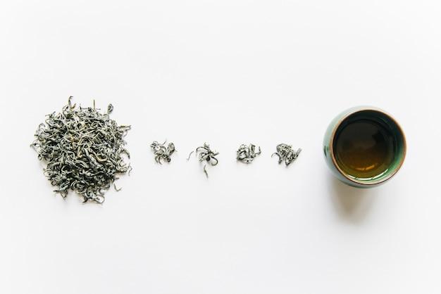 Hierba de té seca con taza de té aislado sobre fondo blanco.