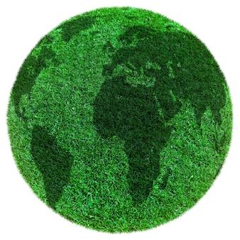 Hierba de tierra verde sobre las superficies blancas
