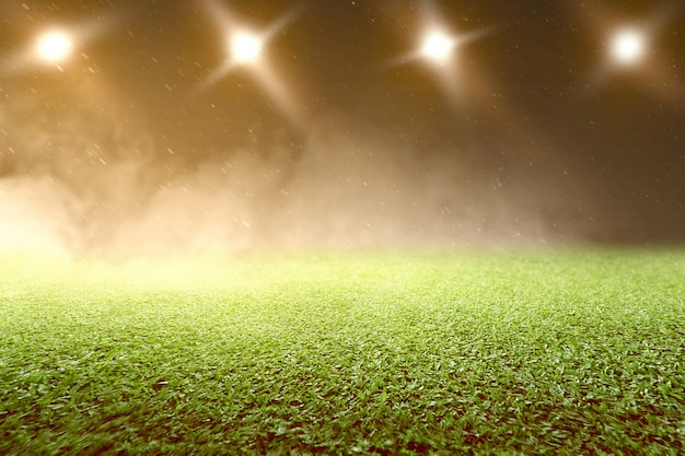 Hierba verde con focos
