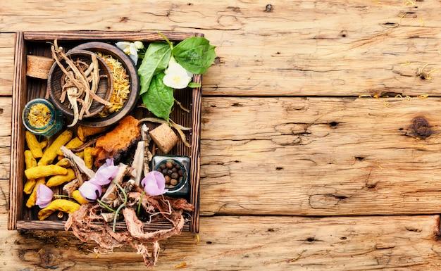 Hierbas curativas en caja de madera.
