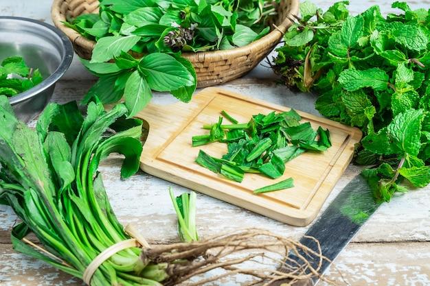 Hierbas de menta y hierbas de culantro para la salud.
