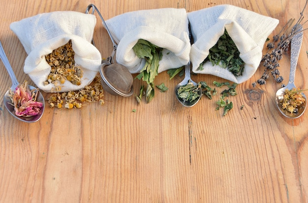 Hierbas naturales secas en bolsas de lino y cucharas para té de hierbas y remedios, medicina alternativa, botica casera.