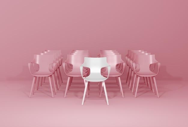 Hilera de sillas en pared rosa