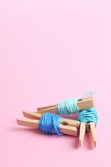 Hilos de lana rollos en rosa