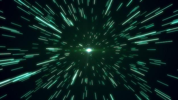 Hiperespacio campo de estrellas zoom desenfoque 3d ilustración