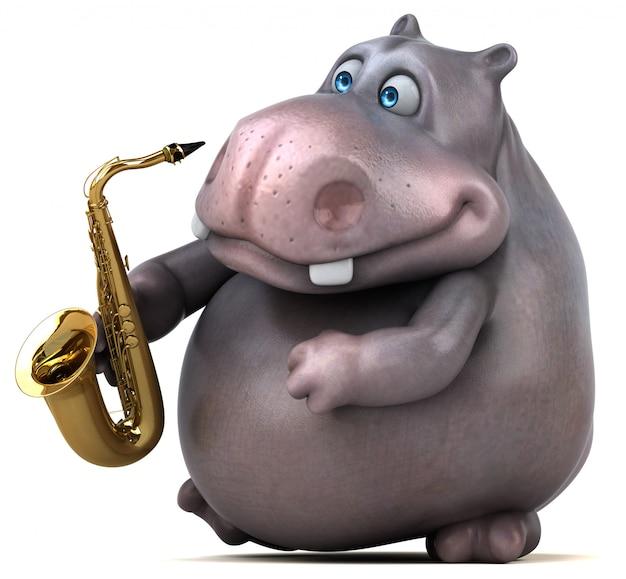 Hipopótamo divertido - ilustración 3d