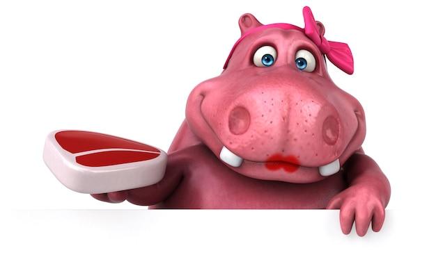 Hipopótamo rosa - ilustración 3d