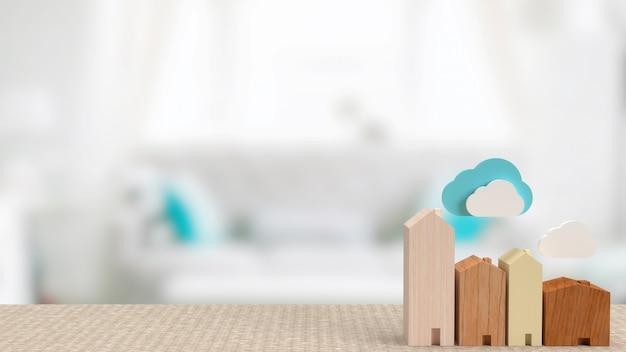 El hogar y la nube para la representación 3d del concepto de tecnología de hogar inteligente