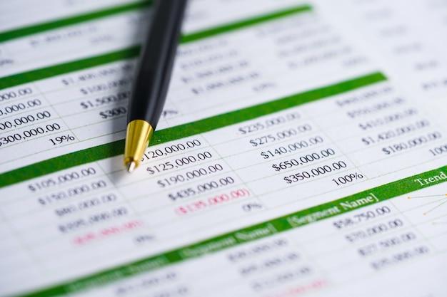 Hoja de cálculo papel de la mesa desarrollo financiero