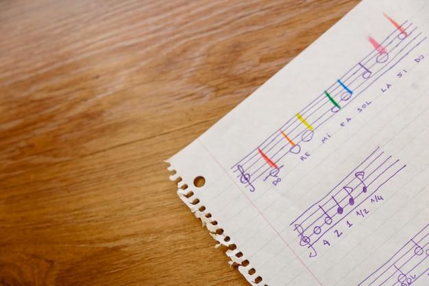 Hoja de una escuela de música con una partitura simple con las notas básicas y los tiempos para que los niños aprendan.