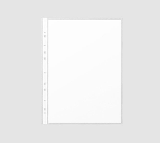 Hoja de papel a4 blanca en blanco en funda de plástico transparente