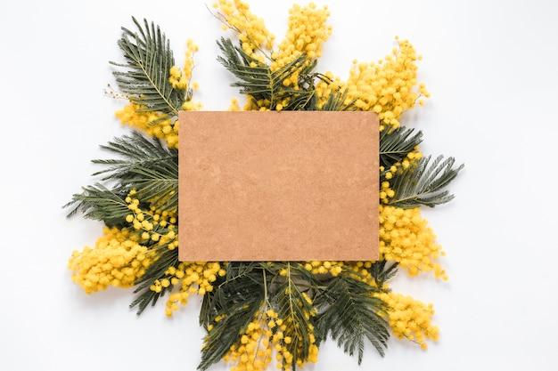 Hoja de papel en blanco sobre ramas de flor amarilla