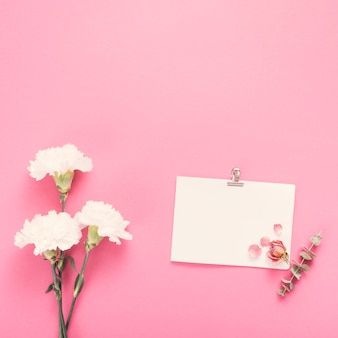 Hoja de papel pequeña con flores blancas en mesa.
