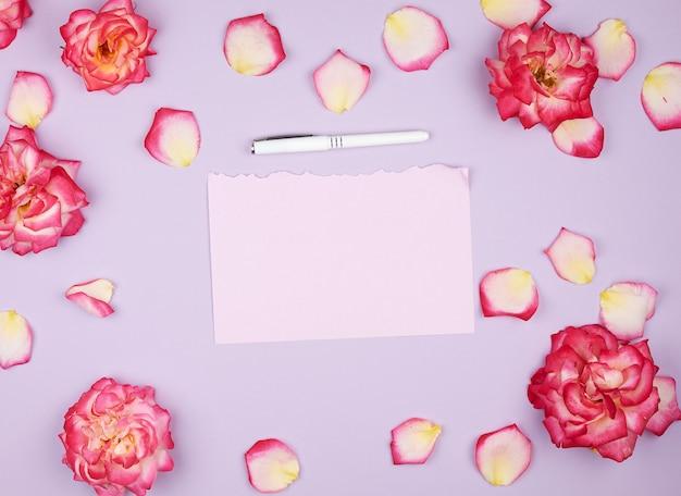 Hoja de papel rosa vacía y capullos de rosas rosadas