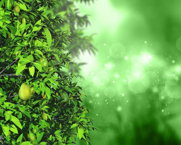 Hojas 3d y frutas sobre un fondo desenfocado con luces bokeh y estrellas
