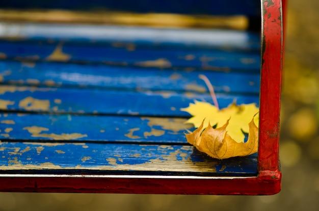 Hojas amarillas del otoño en un oscilación de los niños