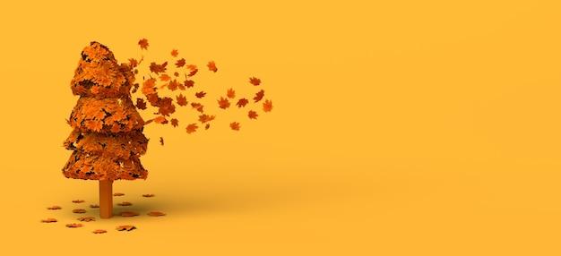 Las hojas de los árboles vuelan y caen en otoño. copie el espacio. ilustración 3d.