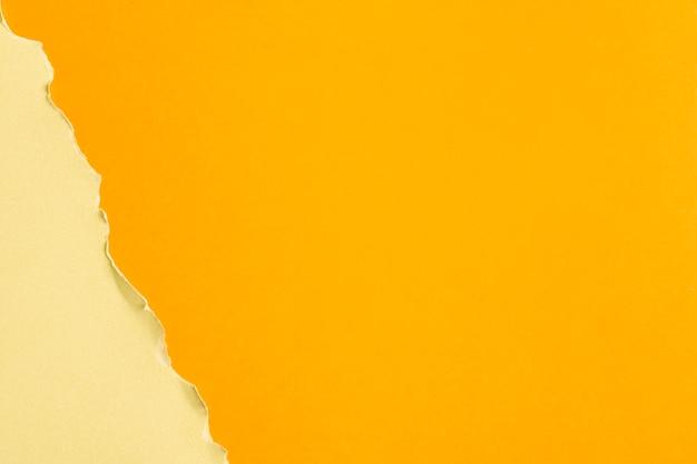 Hojas de cartón en tonos amarillos con espacio de copia.