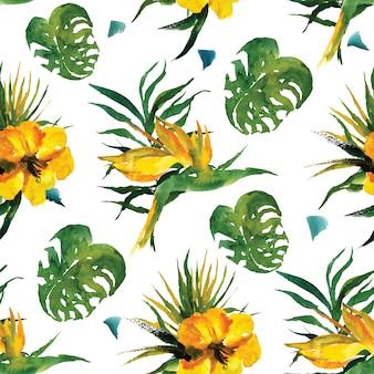 Hojas exóticas y flores acuarela de patrones sin fisuras. paraíso tropical de verano. vacaciones junto al mar
