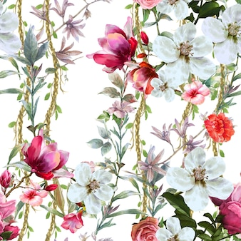 Hojas y flores acuarela de patrones sin fisuras