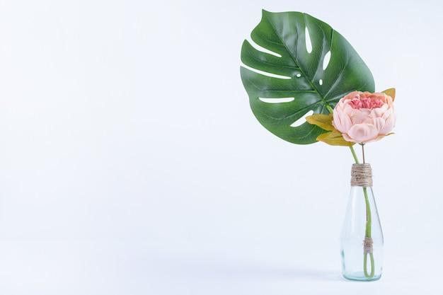 Hojas y flores artificiales en frasco de vidrio en blanco.