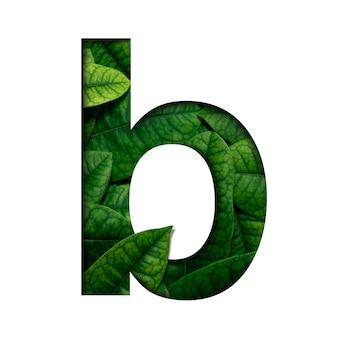 Hojas de fuente b hechas de hojas reales con forma de corte de papel precioso.