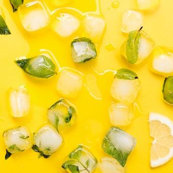 Hojas de menta en cubitos de hielo y limón.
