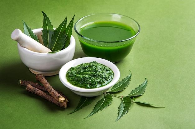 Hojas de neem medicinales en mortero y mortero con pasta de neem, jugo y ramitas