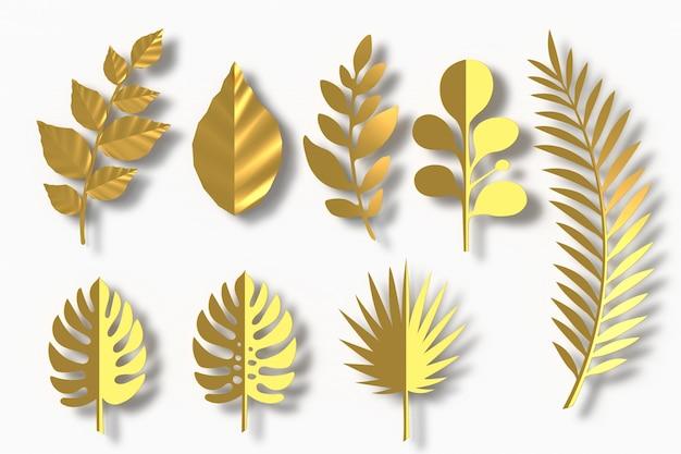 Hojas de oro estilo papel, renderizado 3d