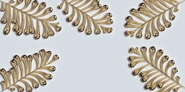 Hojas de oro sobre fondo blanco ilustración 3d