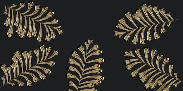 Hojas de oro sobre fondo negro ilustración 3d