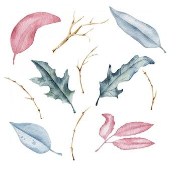 Hojas de otoño de acuarela