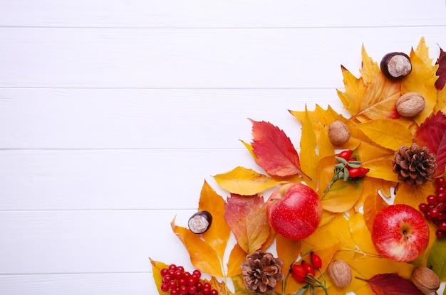 Hojas de otoño con bayas y frutas en blanco
