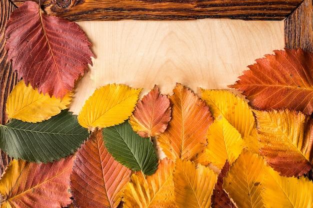 Hojas de otoño en el fondo de la mesa de madera